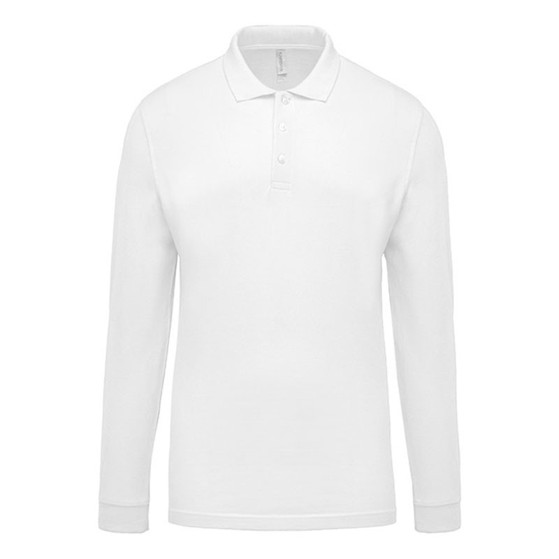 Polo de Travail Coton Blanc Manches Longues Homme TOPTEX