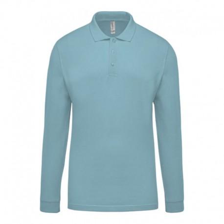 Polo de Travail Coton Bleu Ciel Manches Longues Homme TOPTEX