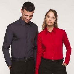 chemise service homme et femme serveur manches longues grise