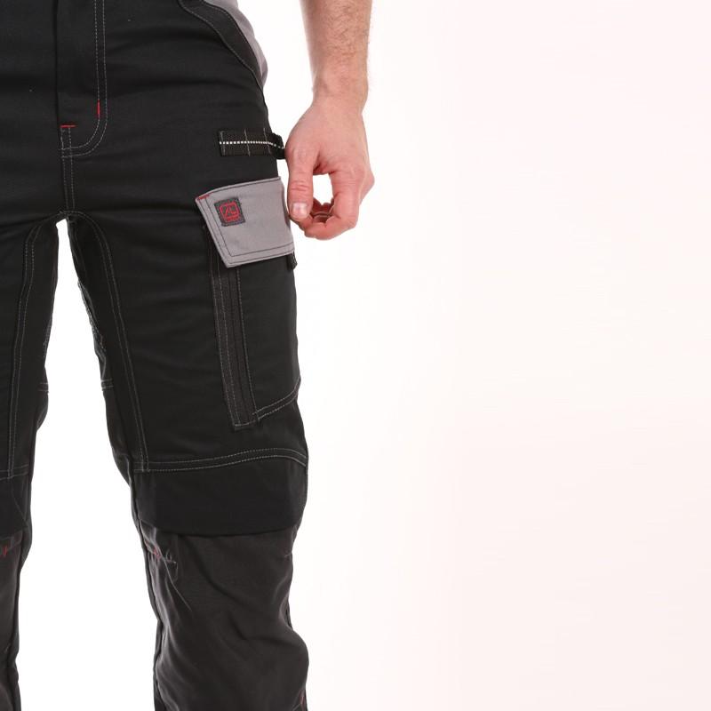 Pantalon Multipoches Protection Genoux Noir pas chère
