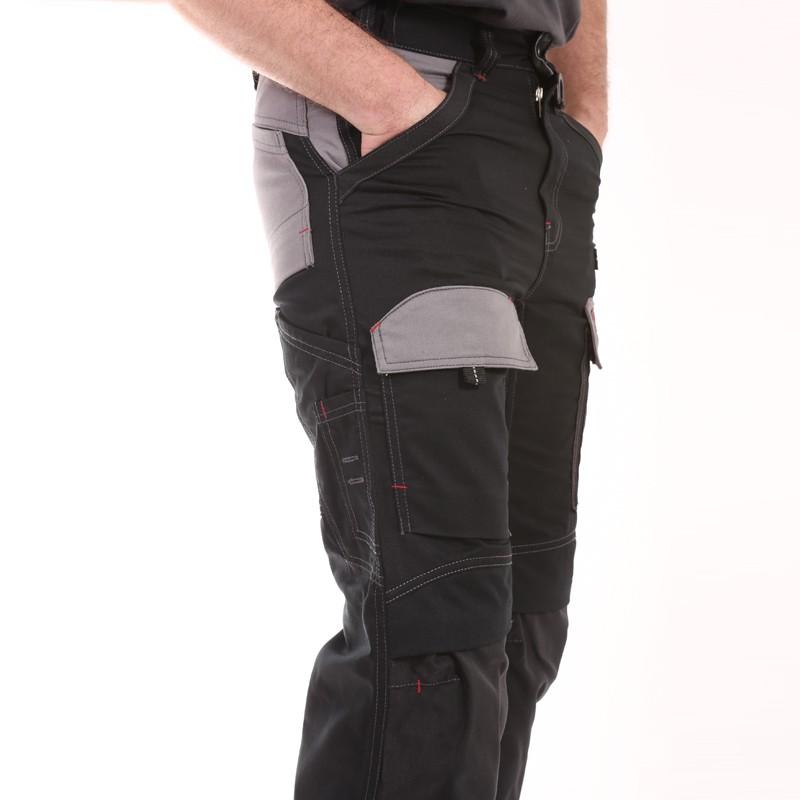 Pantalon Multipoches Protection Genoux Noir pas cher