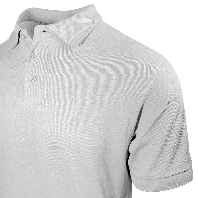 Polo homme gris chiné à petit prix détail vu col et bouton