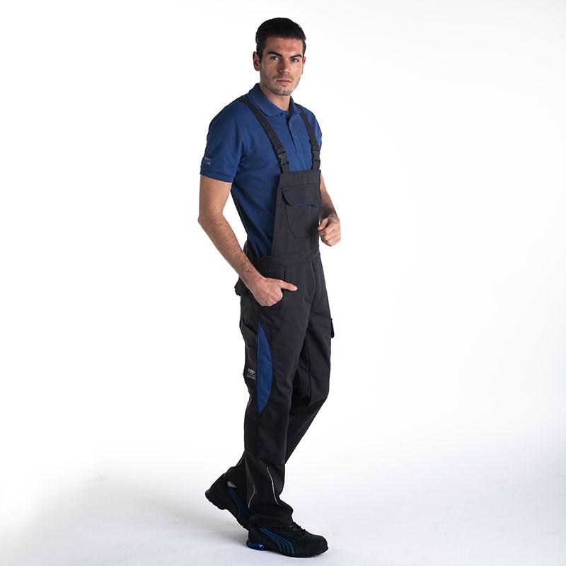 Salopette de Travail Bicolore Noir et Bleu Homme détail côté PUMA WORKWEAR