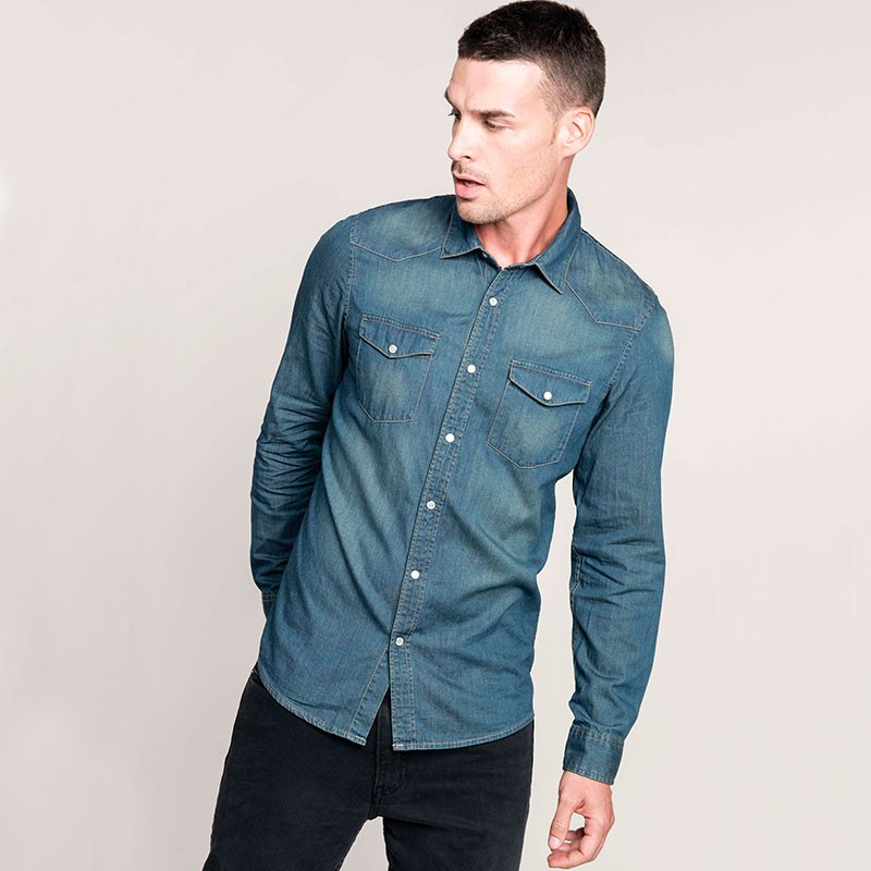 Chemise Denim Homme Manches Longues TOPTEX