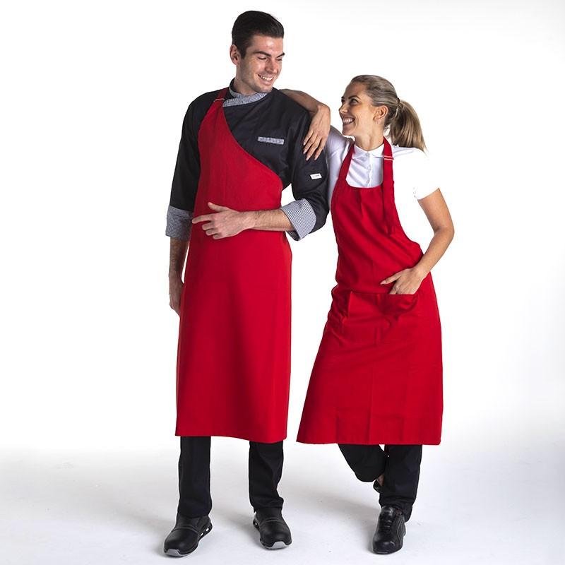 Tablier pour boucher couleur rouge polyester Manelli