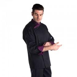 veste de cuisine couleur noir et violet pour homme