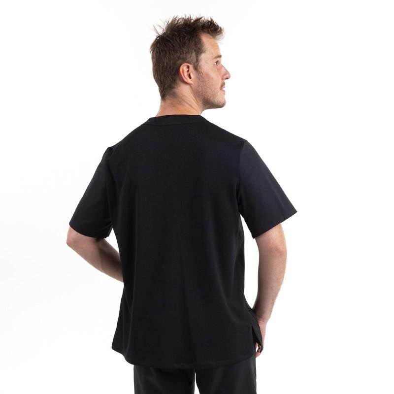 Tunique de Cuisine Confort Noir face, 2 poches latérales