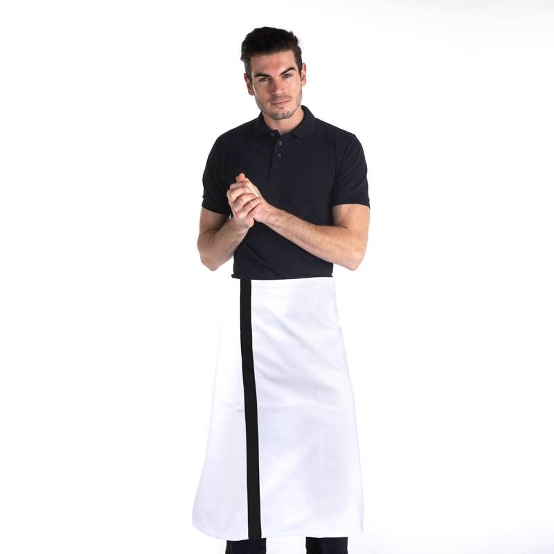 tablier demi-chef blanc avec bande couleur noir 100% coton