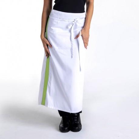 Tablier blanc bande vert anis - 90cm