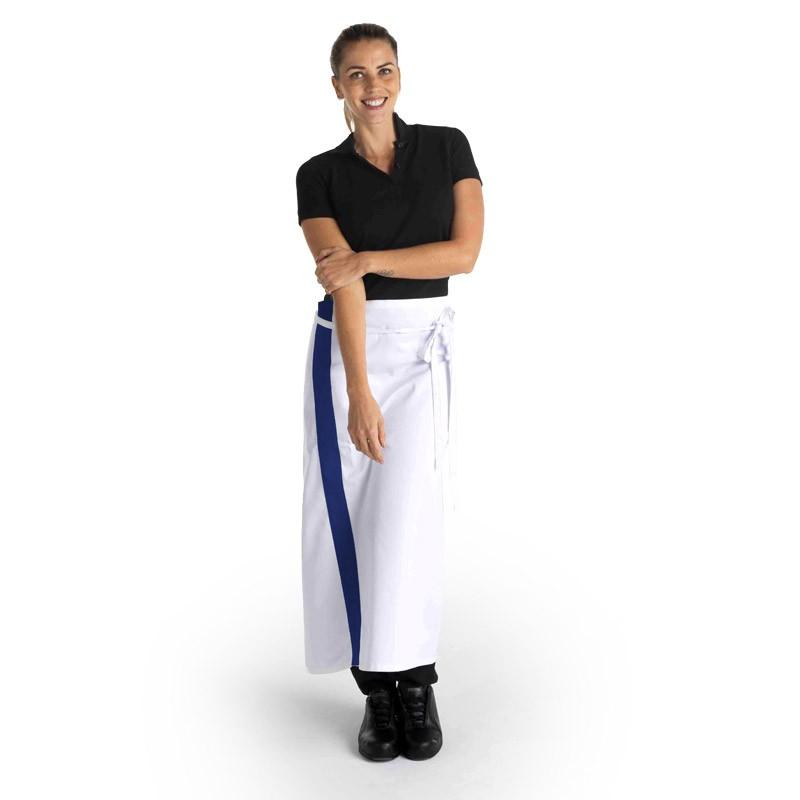 Tablier blanc bande bleu marine - 90cm