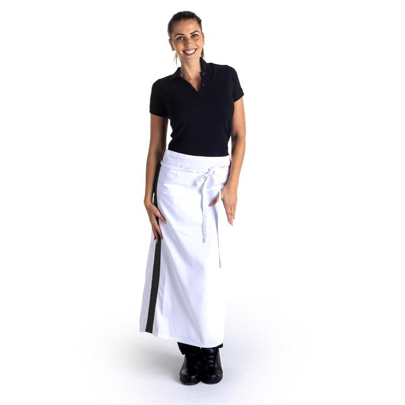 Tablier blanc bande noir - 90cm