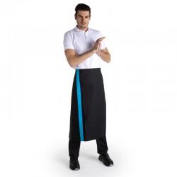 Tablier noir bande couleur - 90cm - MANELLI - bleu
