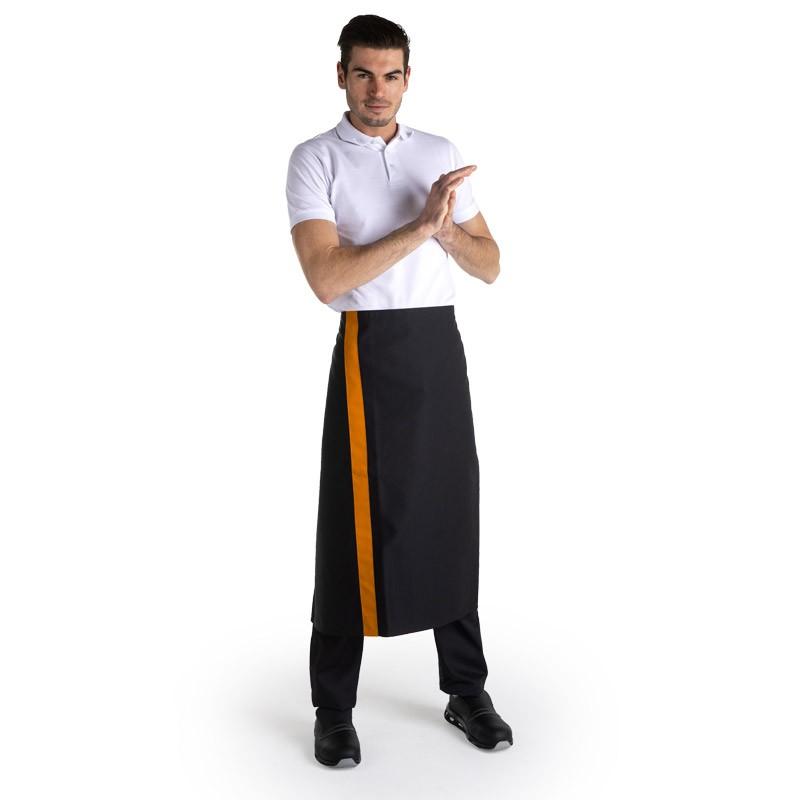 Tablier noir bande couleur - 90cm - MANELLI - orange
