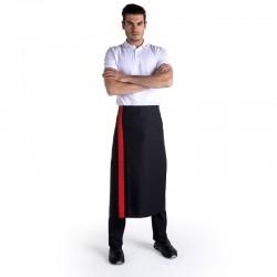 Tablier noir bande couleur - 90cm - MANELLI - rouge