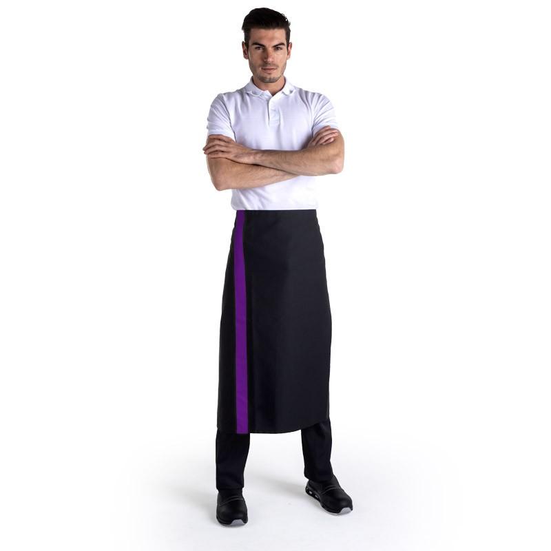 Tablier noir bande couleur - 90cm - MANELLI - violet