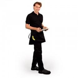 Tablier de cuisine noir de 40cm avec une poche ornée d'un liseré vert anis