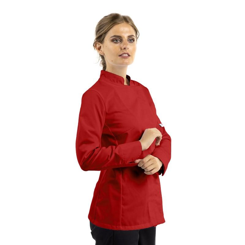 veste de cuisine rouge pour femme à manches longues