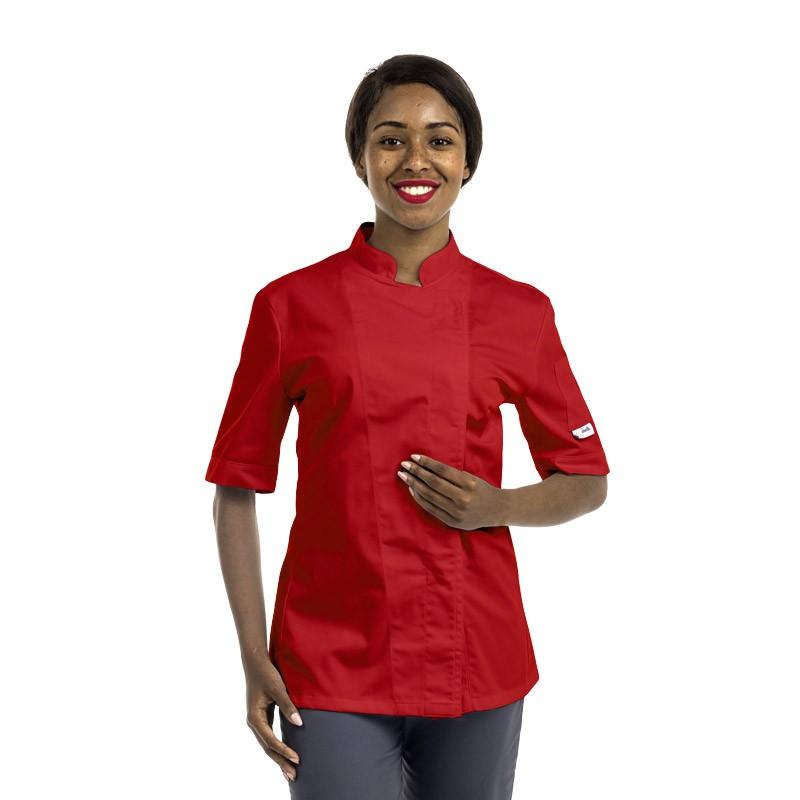 Veste de cuisine rouge pour femme à manches courtes