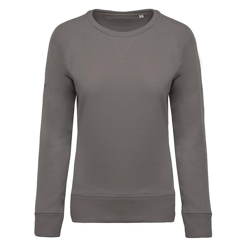 Sweat-Shirt Bio Col Rond Manches Raglan Femme Gris TOPTEX