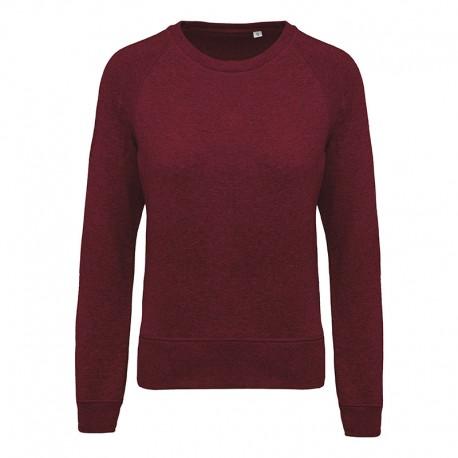Sweat-Shirt Bio Col Rond Manches Raglan Femme Bordeaux TOPTEX