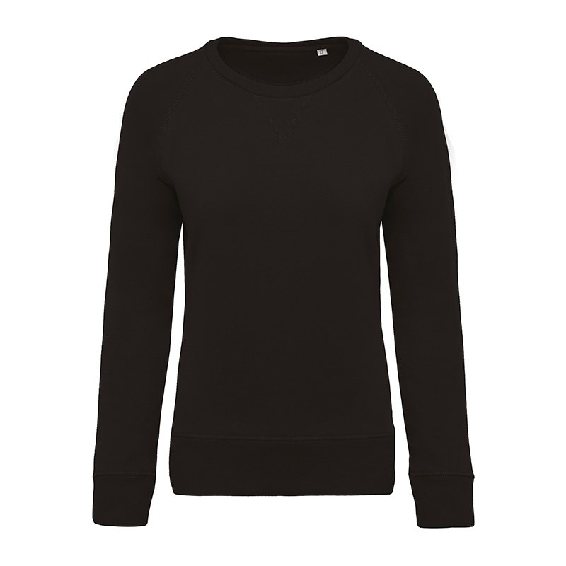 Sweat-Shirt Bio Col Rond Manches Raglan Femme Noir TOPTEX