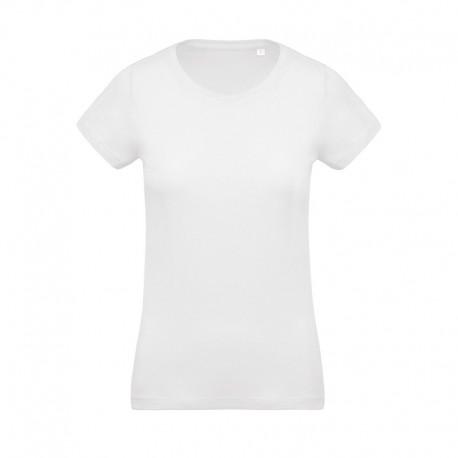 T-shirt de Travail Blanc 100% Coton Bio Col Rond Femme TOPTEX