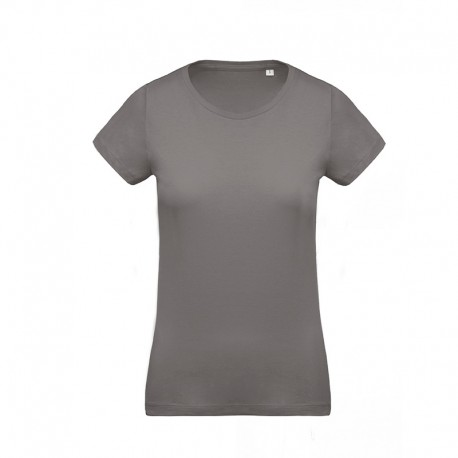 T-shirt de Travail Gris 100% Coton Bio Col Rond Femme TOPTEX