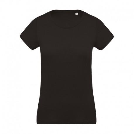 T-shirt de Travail Noir 100% Coton Bio Col Rond Femme TOPTEX