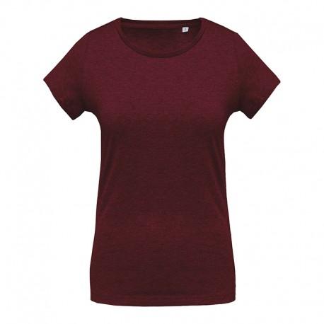 T-shirt de Travail Bordeaux 100% Coton Bio Col Rond Femme TOPTEX