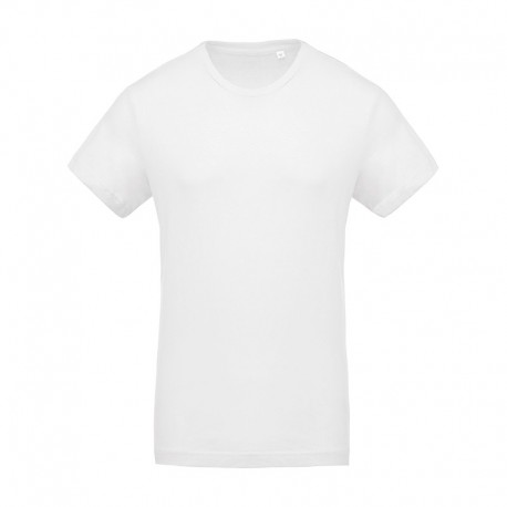 T-shirt de Travail Blanc 100% Coton Bio Col Rond Homme TOPTEX