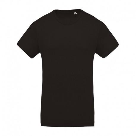 T-shirt de Travail Noir 100% Coton Bio Col Rond Homme TOPTEX