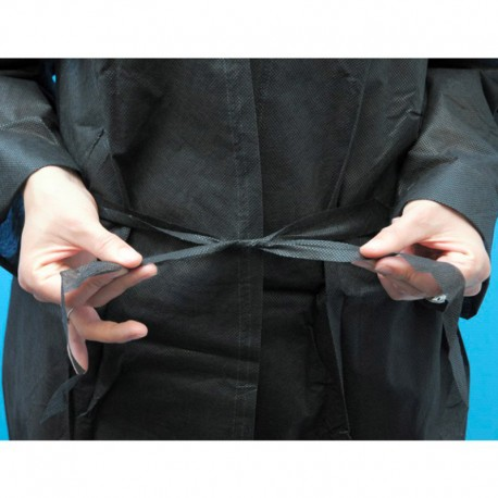 Kimono Jetable à Usage Unique Noir Manches Longues fermeture GM EQUIPEMENT