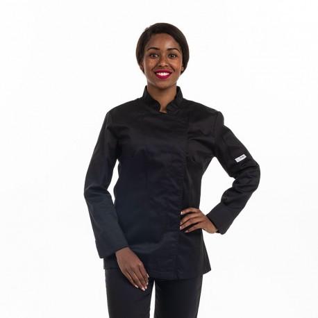 Veste de cuisine Eco-responsable manches longues Femme noire - MANELLI