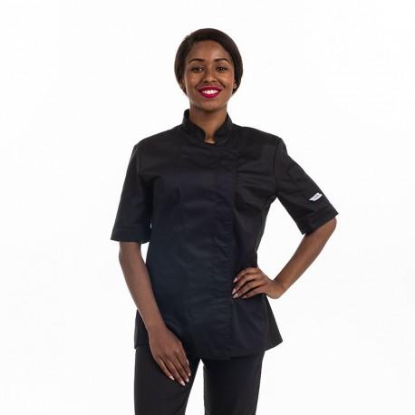 Veste de cuisine Eco-responsable manches courtes Femme noire - MANELLI