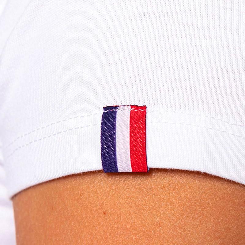 T-shirt de Travail Blanc BIO Femme Made in France détail drapeau france TOPTEX