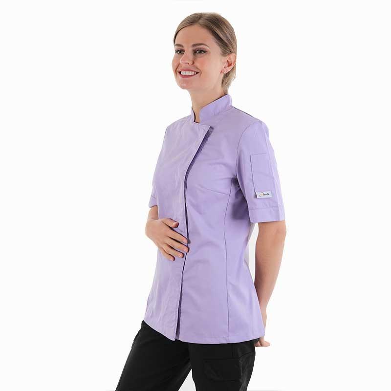 Veste de cuisine lilas manches courtes Manelli