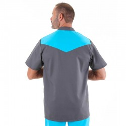blouse medicale empiecement turquoise
