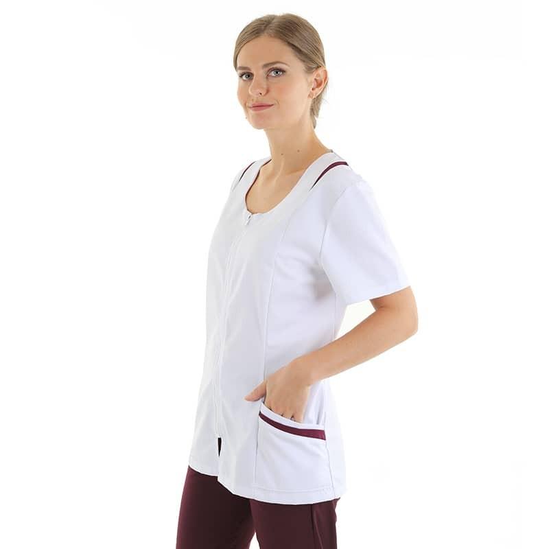 Blouse médicale femme Manelli avec poches et empiecement prunes