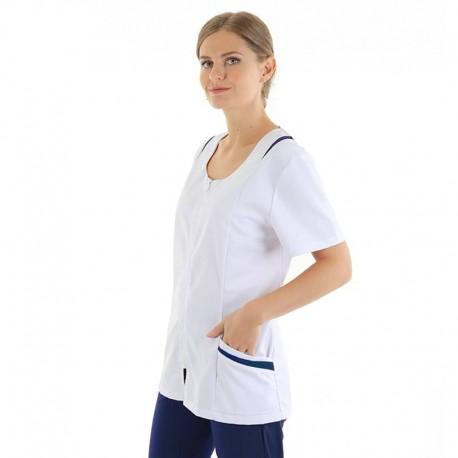 Blouse médicale femme Manelli avec poches et empiecement marine