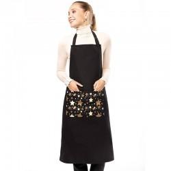 tablier de noel noir avec poche etoiles
