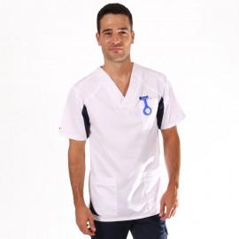 Tunique médicale homme 2SAH blanc & bleu marine