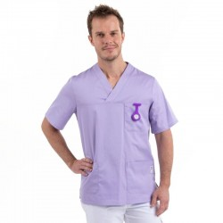 tunique medicale mixte col v lilas
