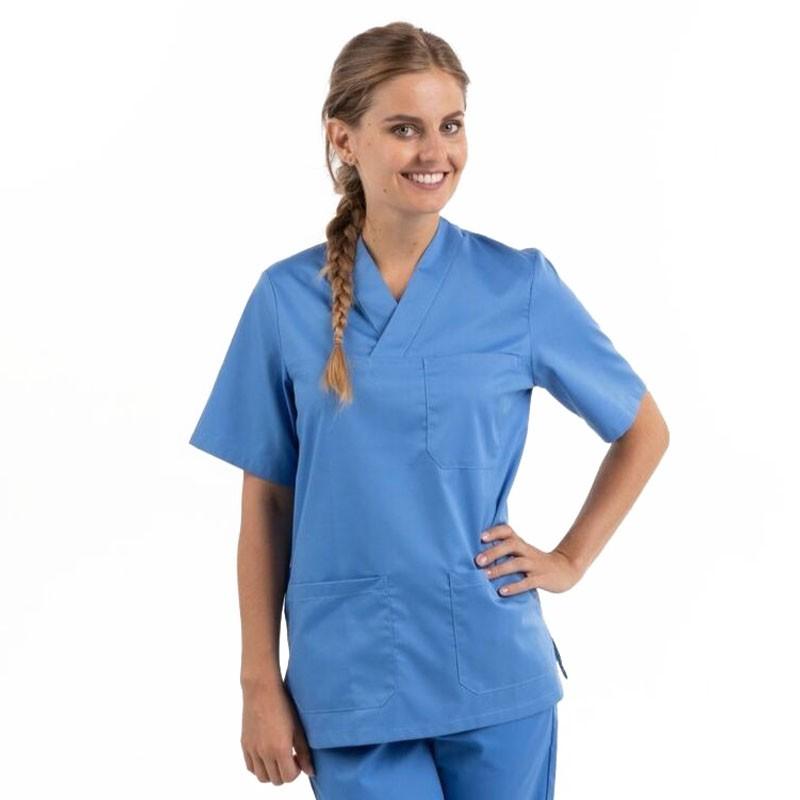 tunique médicale col v bleue