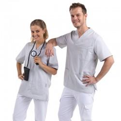 tunique médical col v grise couple Manelli