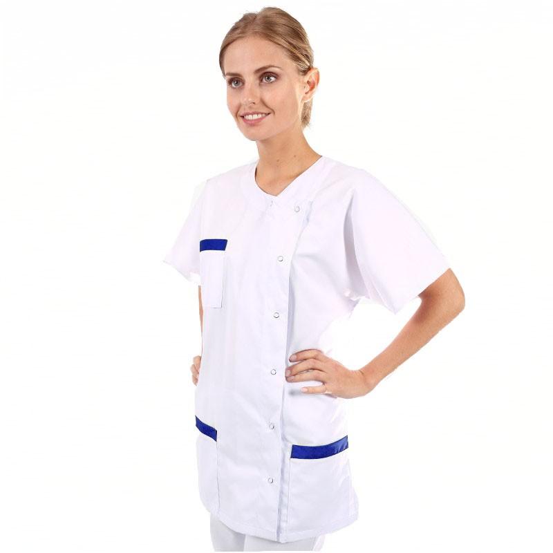 blouse medicale asymetrique empiècement bleu marine