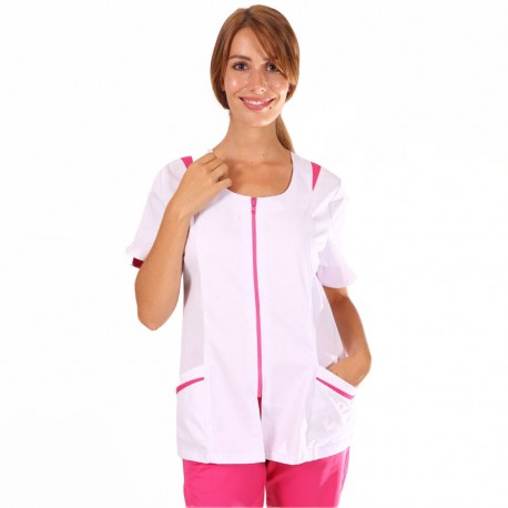 blouse medicale fermeture et poche rose Manelli