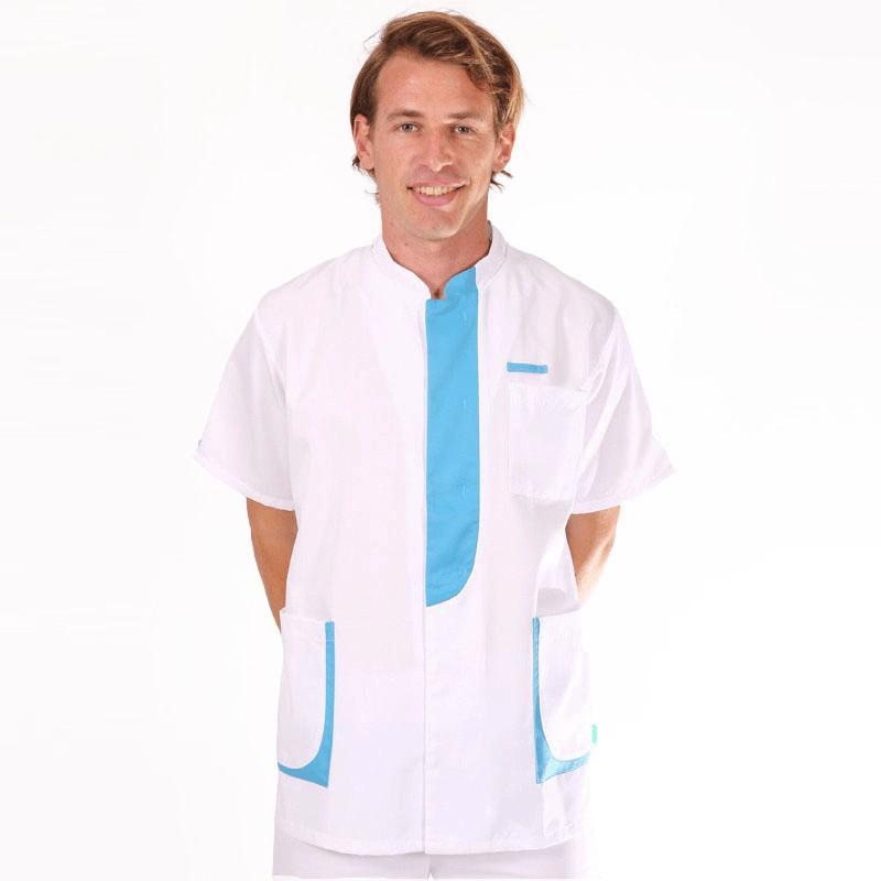Blouse médicale homme 2LEE blanc & bleu ciel manche courte promotions