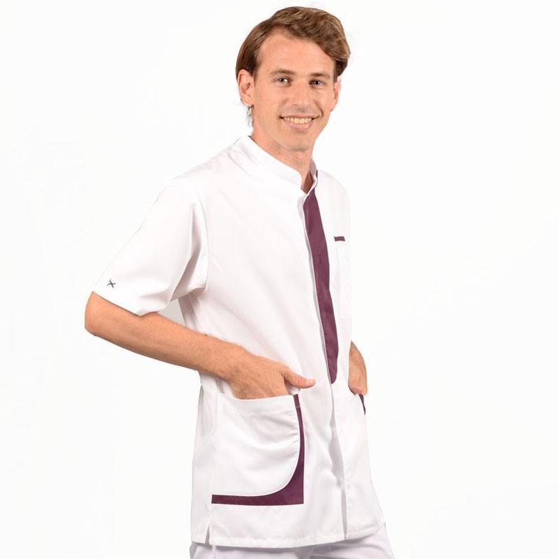 Blouse médicale homme 2LEE blanc & prune profil promotion manche courte