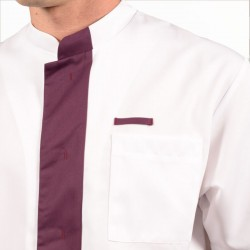 Blouse médicale homme 2LEE blanc & prune zoom promotions manches courtes