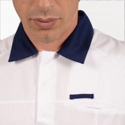 Tunique médicale homme blanc et bleu 2LUC zoom